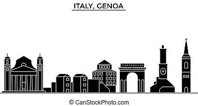 horizonte cidade, edifícios, itália, viagem, vistas, isolado, marcos, vetorial, arquitetura, fundo, cityscape, genoa