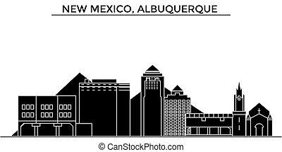 horizonte cidade, edifícios, méxico, viagem, eua, vistas, isolado, albuquerque, vetorial, arquitetura, fundo, cityscape, novo, marcos