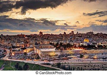 horizonte cidade, jerusalém, antigas