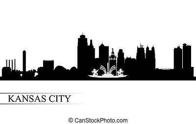 horizonte cidade, kansas, silueta, fundo