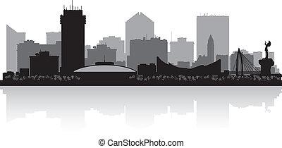horizonte cidade, kansas, wichita, silueta