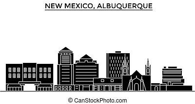 horizonte cidade, méxico, edifícios, viagem, eua, vistas, isolado, albuquerque, vetorial, arquitetura, fundo, cityscape, novo, marcos