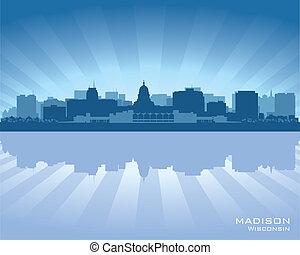 horizonte cidade, madison, wisconsin, silueta