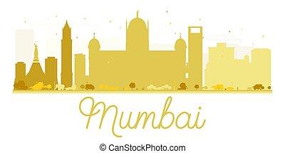horizonte cidade, mumbai, dourado, silhouette.