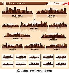 horizonte cidade, set., 10, cidade, silhuetas, de, canadá,...