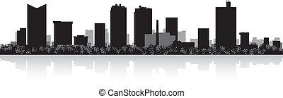 horizonte cidade, silueta, valor, forte