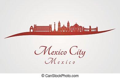 horizonte cidade, v2, vermelho, méxico