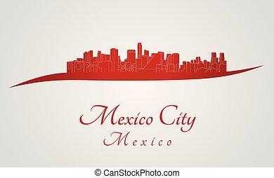 horizonte cidade, vermelho, méxico