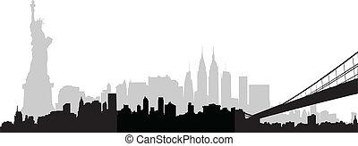 horizonte cidade, vetorial, york, novo