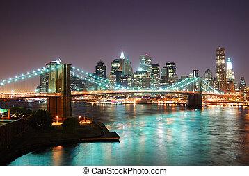 horizonte cidade, york, novo, noturna