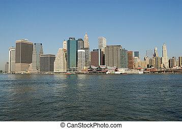 horizonte de manhattan, en, ciudad nueva york