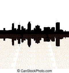 horizonte de montreal, con, perspectiva, texto, contorno,...