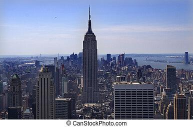 horizonte de new york city, mirar, sur, edificio del estado del imperio