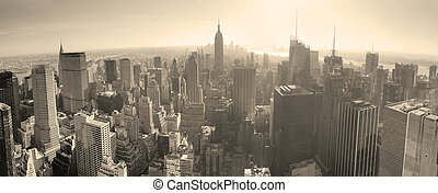 horizonte de new york city, negro y blanco