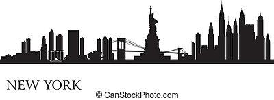 horizonte de new york city, silueta, plano de fondo