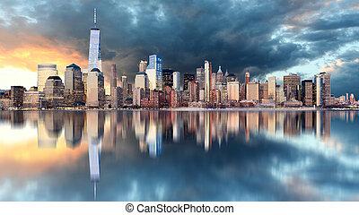 horizonte de nueva york, en, salida del sol