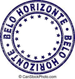 horizonte, grunge, tłoczyć, znak, textured, belo, okrągły