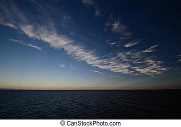 horizonte, mar, azul, céu