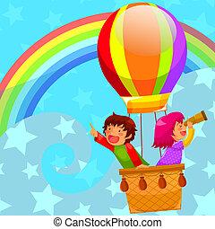 horký, balloon, stavět na odiv