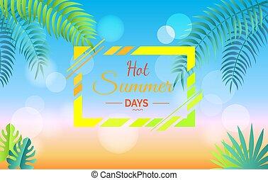 horký, léto, den, propagační, plakát, s, list