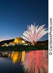 Horkumluang and big firework in Chiang Mai Province Thailand