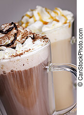 horlivý čokoláda, a, zrnková káva, nápoje