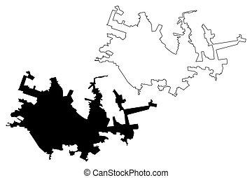 Horlivka City (Ukraine, Donetsk Oblast) map vector illustration, scribble sketch City of Gorlovka or Gorlowka map