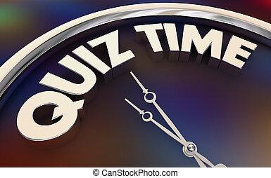 horloge, étude, illustration, interroger, prendre, mots, temps, essai, 3d
