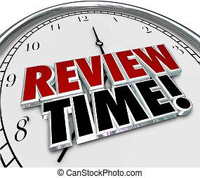 horloge, évaluation, revue, temps, rappel, évaluation
