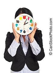horloge, affaires femme, figure