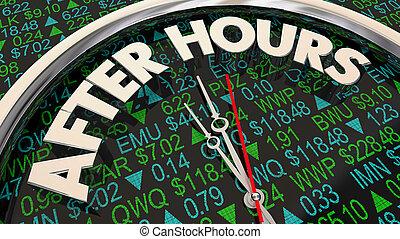 horloge, après, illustration, heures, commerce, temps, symbole actions, marché, 3d