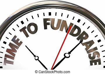 horloge, argent, illustration, fonds, temps, charité, élévation, 3d
