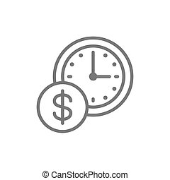 horloge, argent, ligne temps, monnaie, icon.