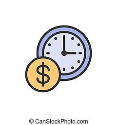 horloge, argent, monnaie, plat, icon., ligne, couleur temps