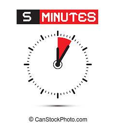 horloge, -, arrêt, illustration, montre, vecteur, cinq, ...