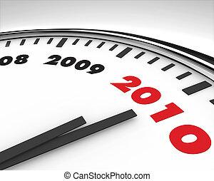 horloge, -, bas, coutil, année, nouveau, 2010