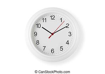 horloge, blanc, mur