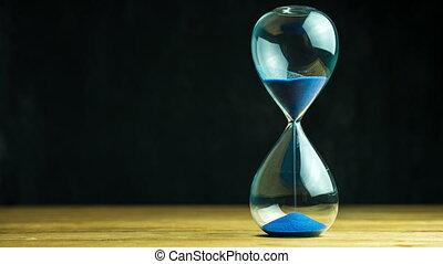 horloge, bois, arrière-plan., sable, noir, table