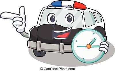 horloge, caractère, voiture, police, dessin animé, concept, avoir