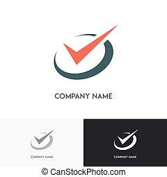 horloge, checkmark, logo
