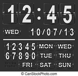 horloge, chiquenaude, vecteur, gabarit, calendrier, exposer, date.