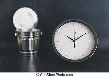 horloge, déchets, pas, miniature, temps, casier, bureau, énorme, gaspillage, business