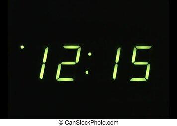 horloge, défaillance, temps, vert, affichage numérique