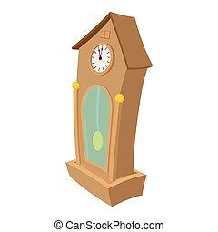 horloge, dessin animé, icône