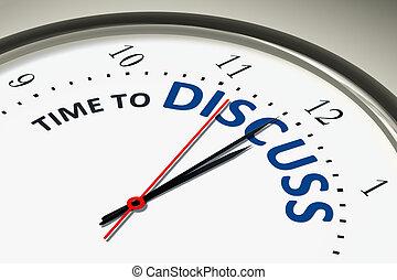 horloge, discuter, temps