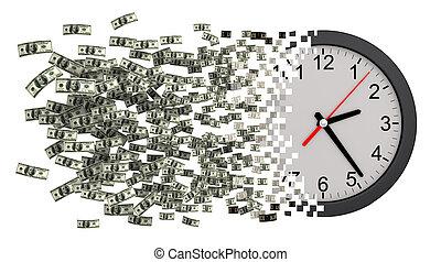 horloge, dollars, argent., temps, effondrer