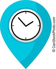 horloge, emplacement, icône