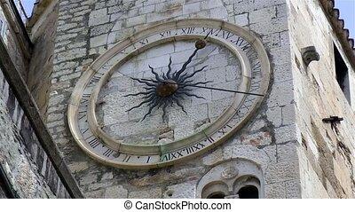 horloge, fente, sous, tour, cloche, historique, croatia.