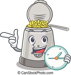 horloge, friteuse, caractère, profond, dessin animé, concept...