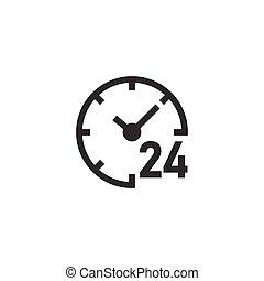 horloge, icône, business, 24/7, blanc, montre, isolé, style., arrière-plan., concept., minuteur, illustration, plat, vecteur